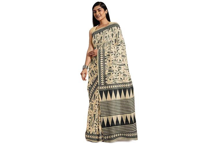 Printed Gadwal Cotton Blend Saree (Black, Beige)