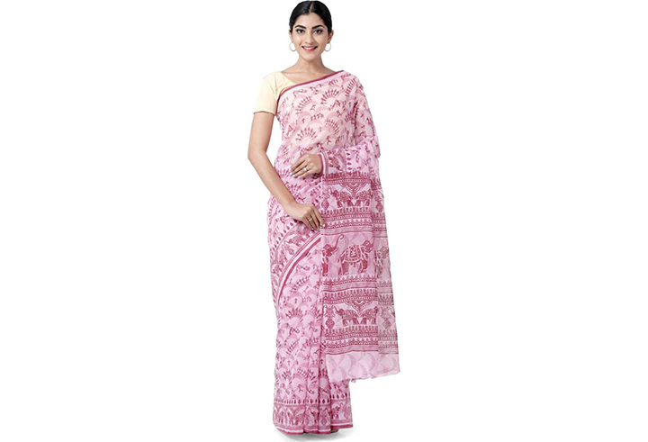 Animal Print Gadwal Cotton Blend Saree (Multicolor)