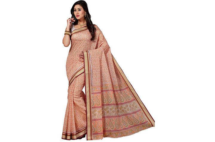 Printed Gadwal Cotton Blend Saree (Orange)