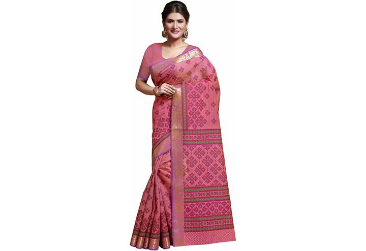 Printed Gadwal Cotton Blend Saree (Pink)
