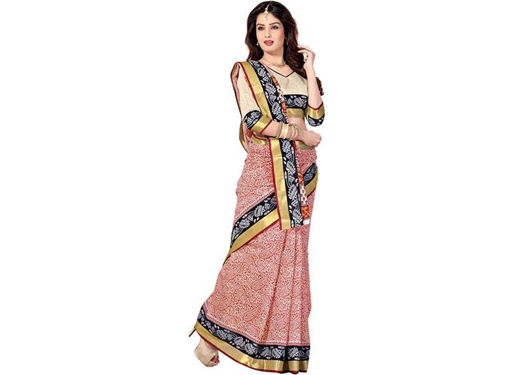 Printed Gadwal Cotton Blend Saree (Red)