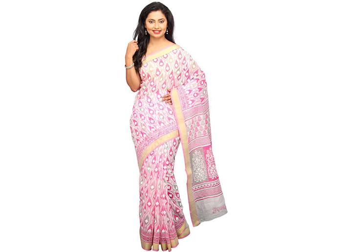 Printed Gadwal Cotton Blend Saree (White)