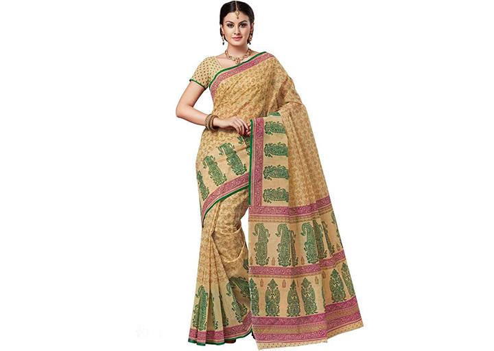 Printed Gadwal Cotton Blend Saree (Yellow)
