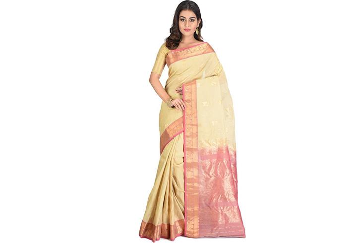 Printed Gadwal Cotton Silk Saree (Pink, Yellow)