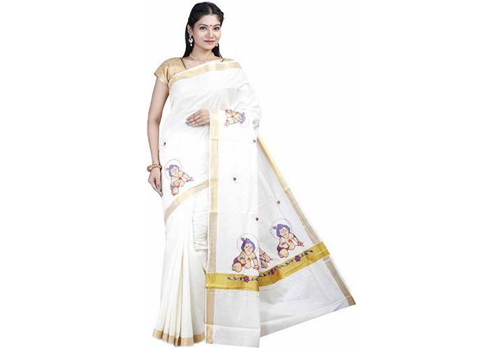 Printed Kasavu Cotton Blend Saree