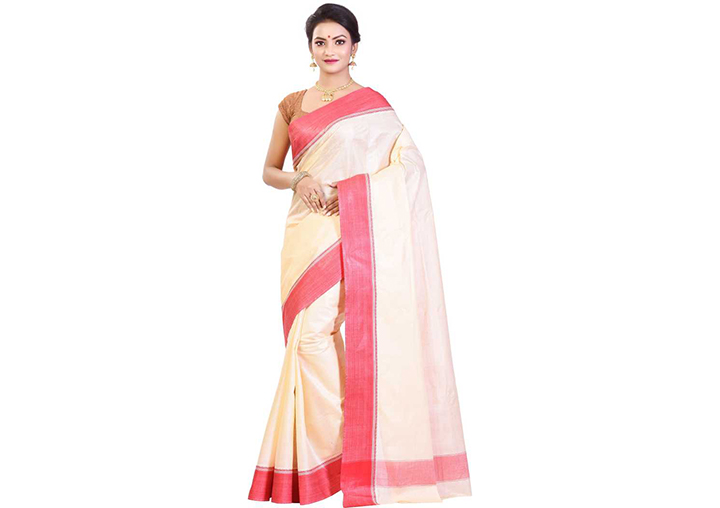 Printed, Self Design, Hand Painted, Striped, Woven, Floral Print, Solid Gadwal Cotton Blend, Chiffon Saree (White)