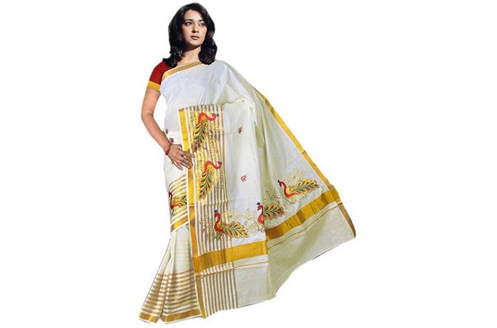 Printed, Striped Kasavu Cotton Blend Saree