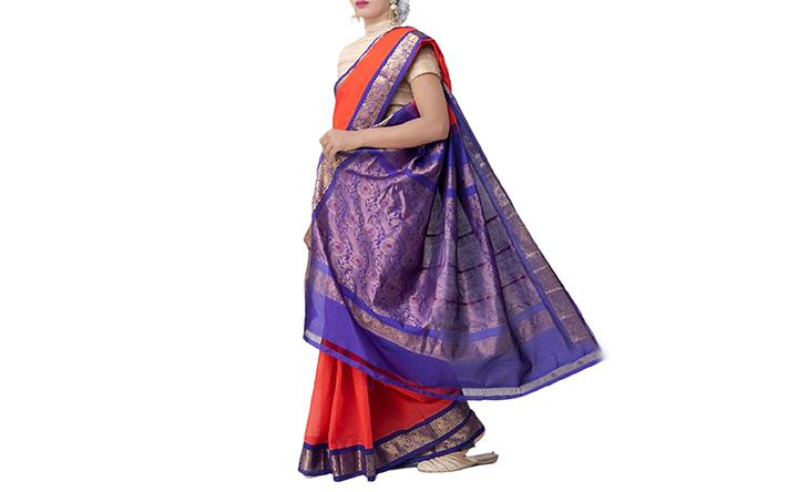 Red Pure Handloom Gadwal Cotton Saree