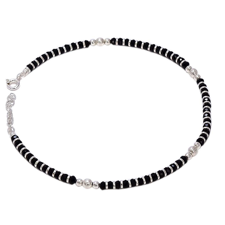 Sahiba Gems 925 Nazariya Anklet (Payal) with Black & Silver Self Design Beads in Pure 92.5 Sterling Silver for Girls and Women