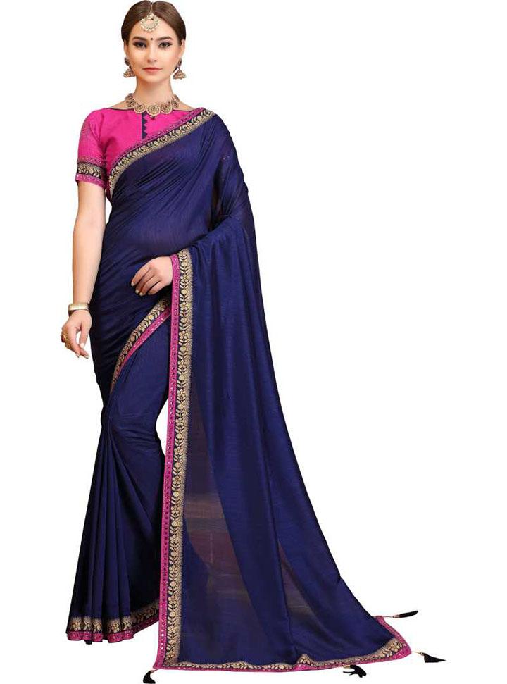 Self Design, Embellished, Solid Fashion Cotton Silk Saree (Dark Blue)