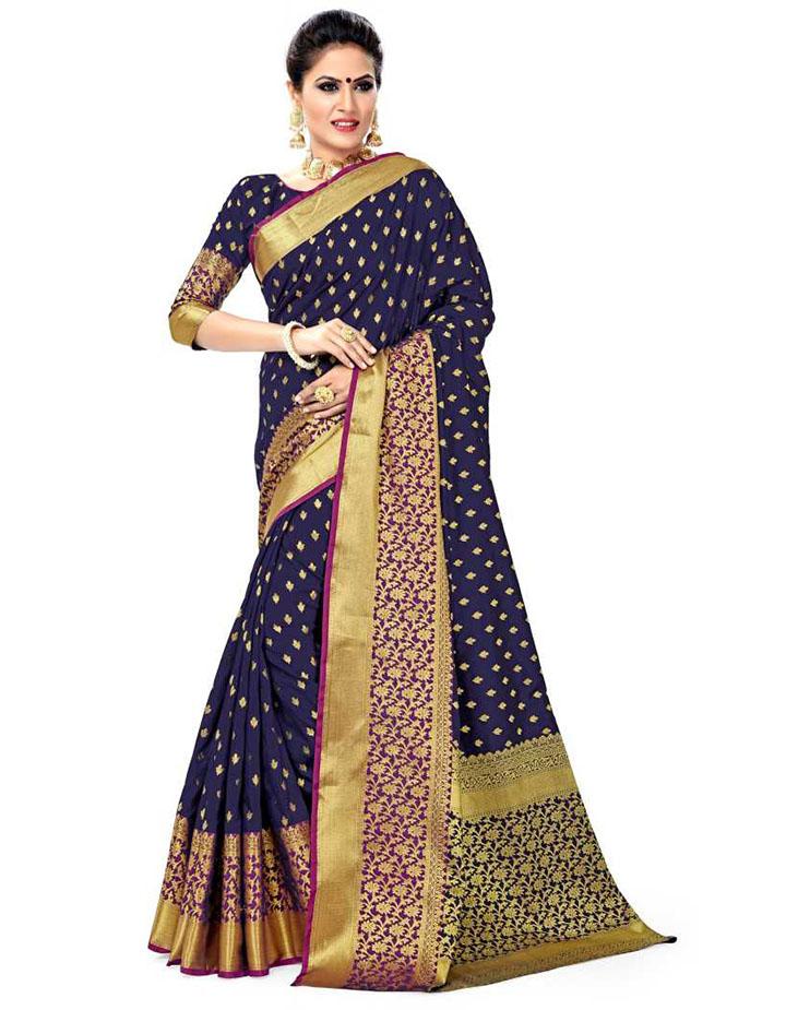 Self Design, Embroidered, Woven Kanjivaram Art Silk, Cotton Silk Saree (Multicolor)