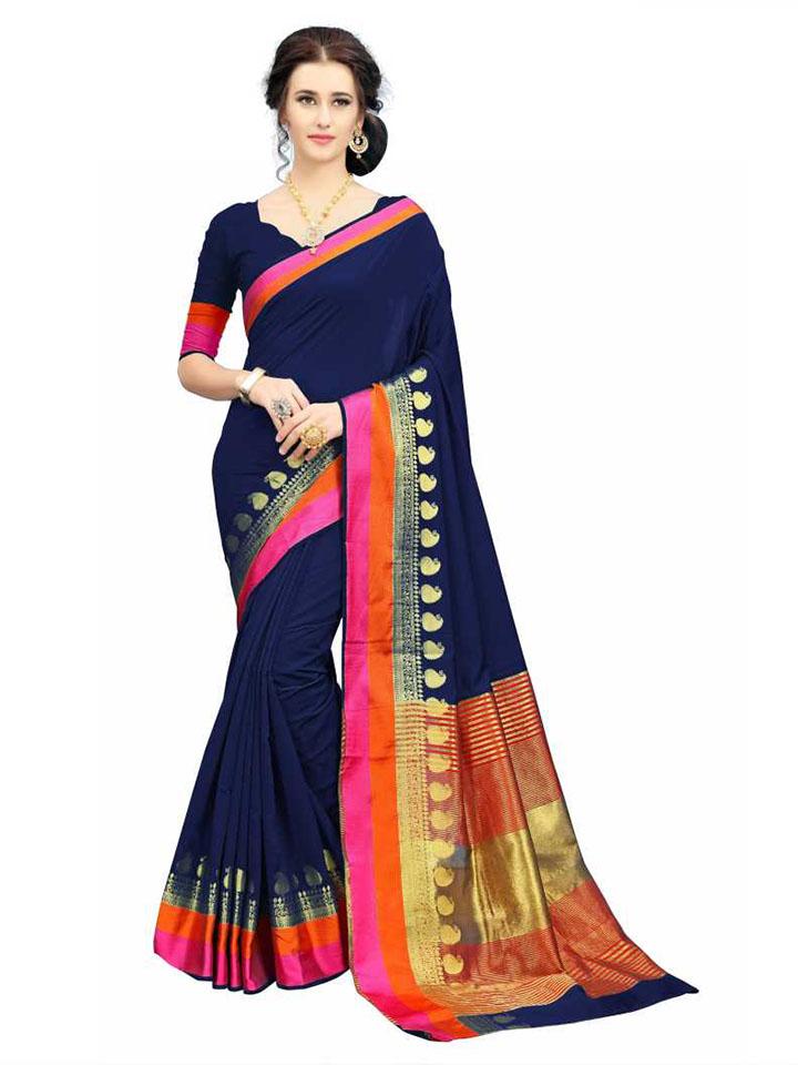 Self Design, Embroidered, Woven Kanjivaram Silk Blend, Jacquard Saree (Multicolor)