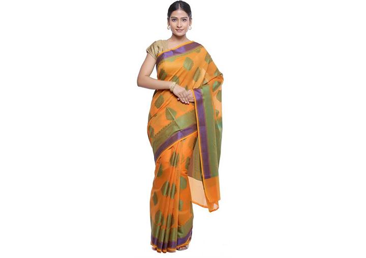 Self Design Gadwal Art Silk Saree (Orange)