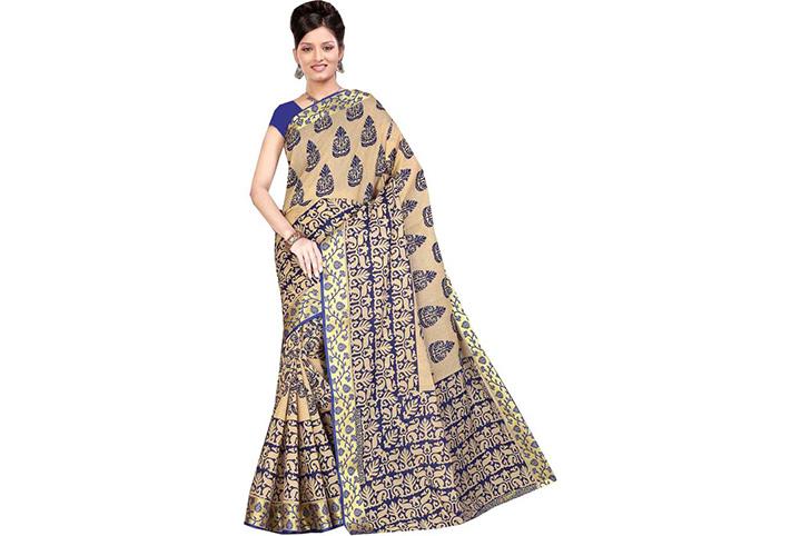 Self Design Gadwal Cotton Blend Saree (Multicolor)