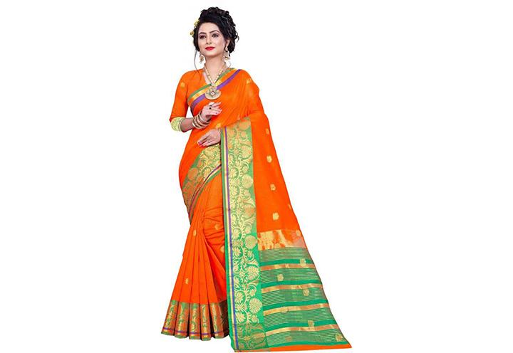 Self Design Gadwal Pure Cotton Saree (Orange)