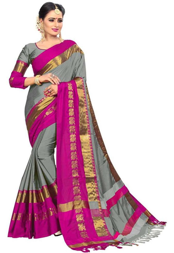 Self Design Kanjivaram Art Silk, Cotton Silk Saree (Grey)