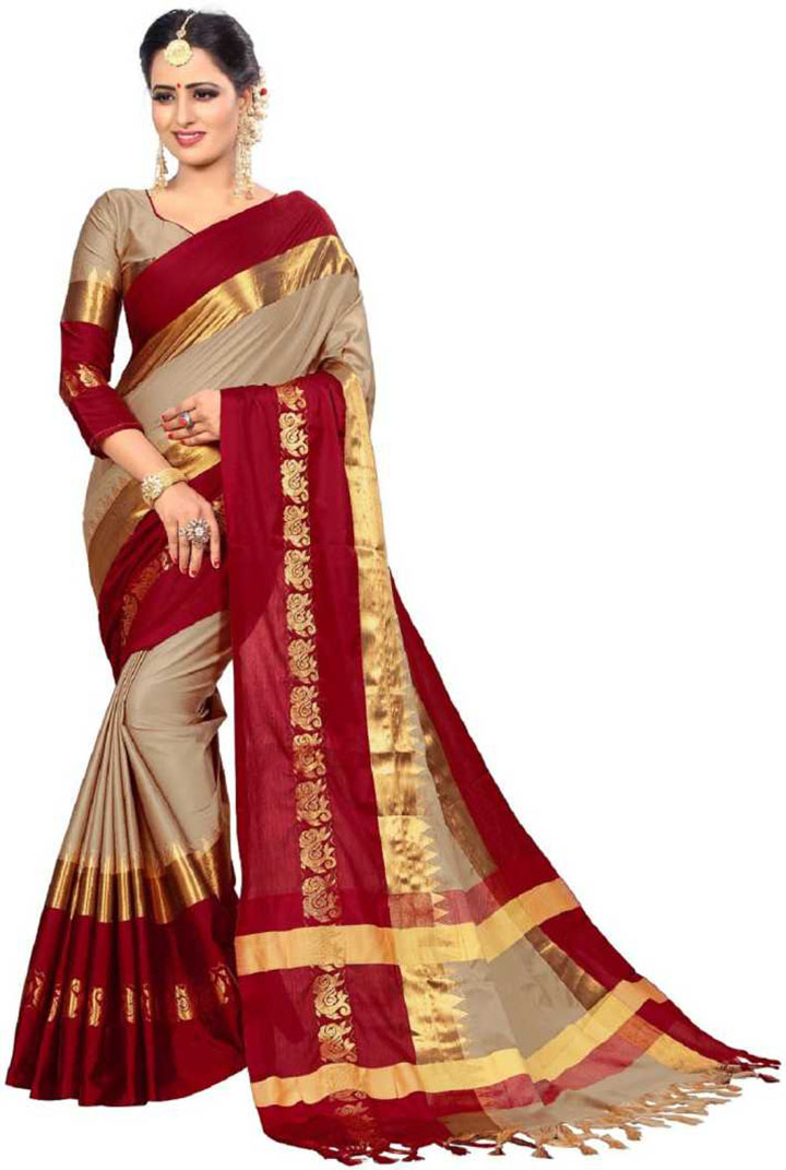 Self Design Kanjivaram Art Silk, Cotton Silk Saree (Maroon, Beige)