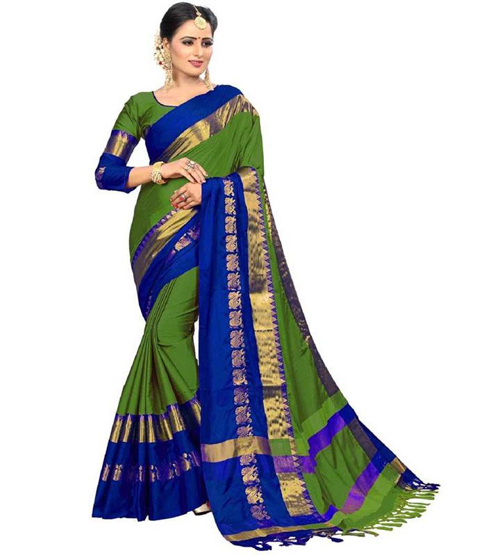 Self Design Kanjivaram Art Silk, Cotton Silk Saree (Multicolor)