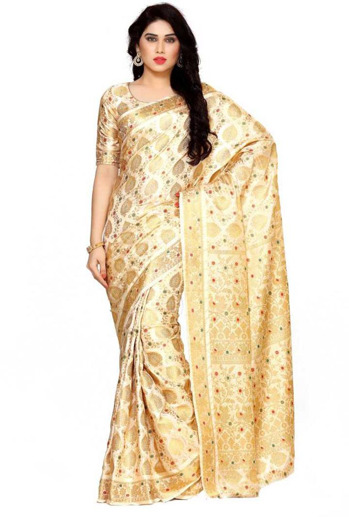 Self Design Kanjivaram Art Silk Saree (Gold)