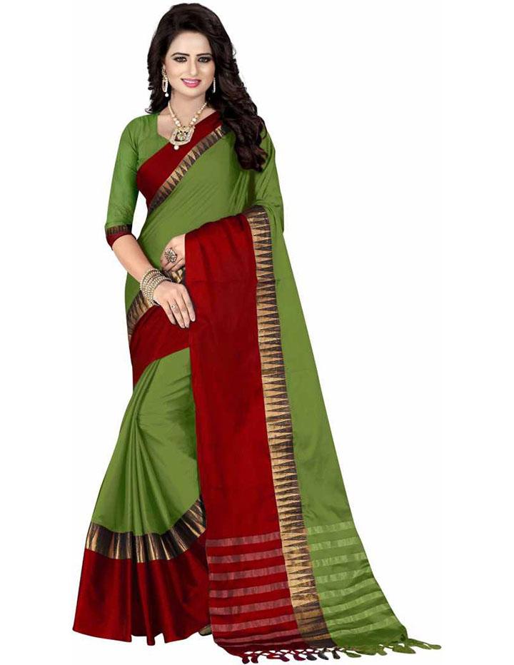 Self Design Kanjivaram Cotton Blend, Poly Silk Saree (Green)