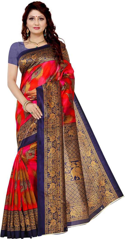 Self Design Mysore Art Silk Saree (Red)