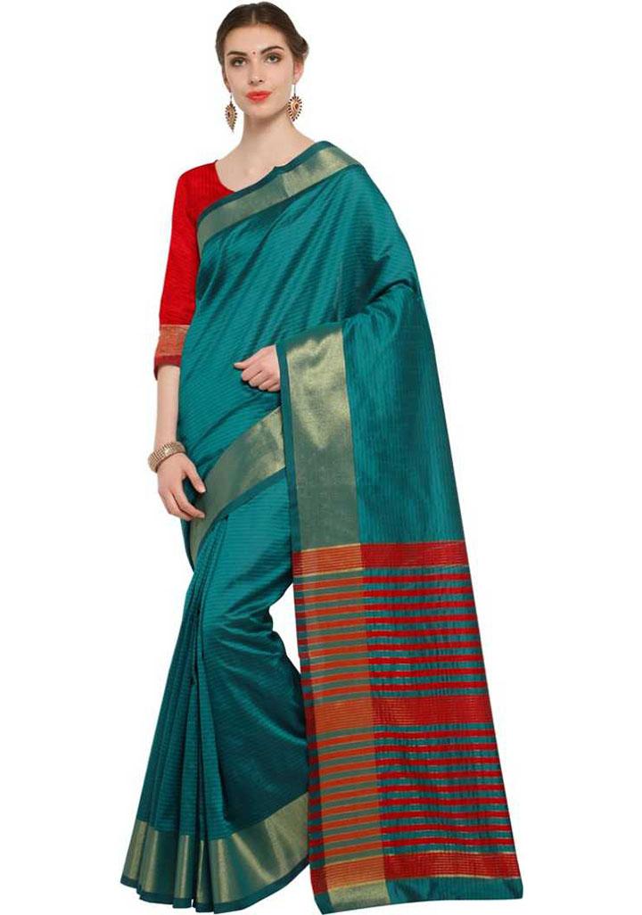 Self Design, Printed, Geometric Print Kanjivaram Poly Georgette Saree (Red, Green, Gold)