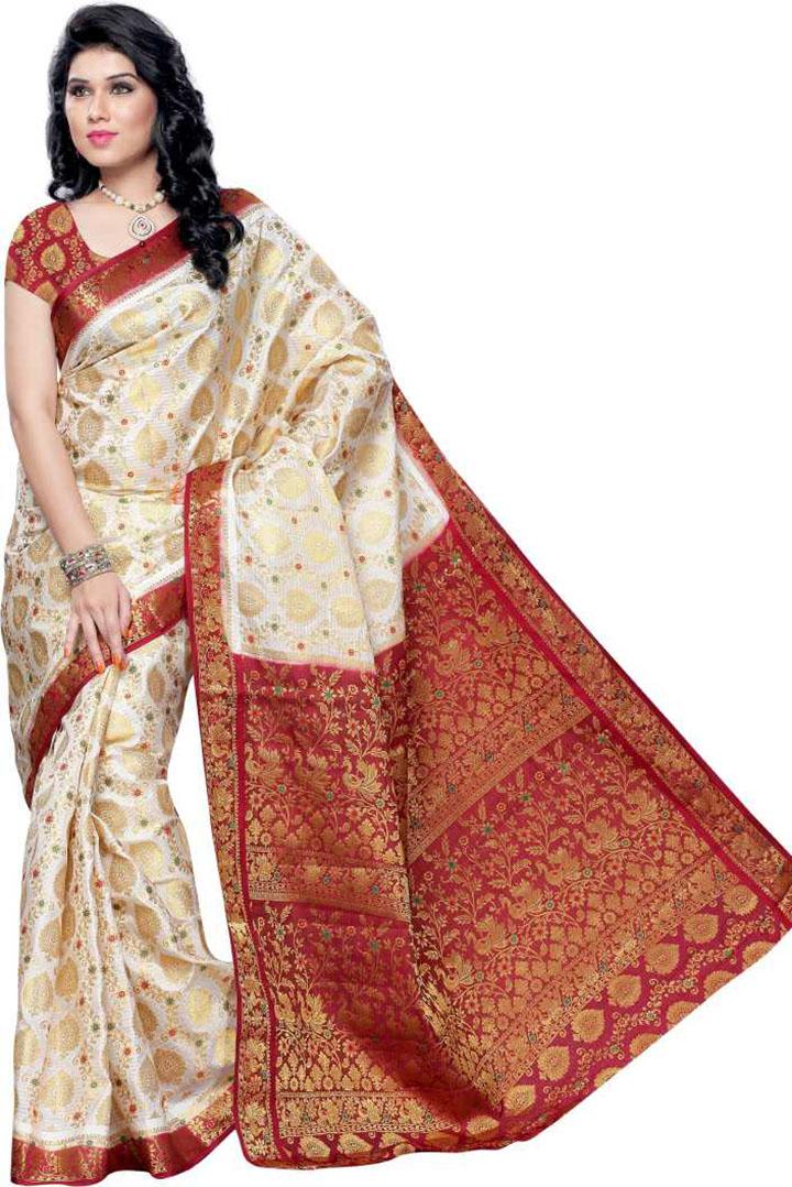 Self Design, Woven Kanjivaram Handloom Art Silk Saree (Cream)