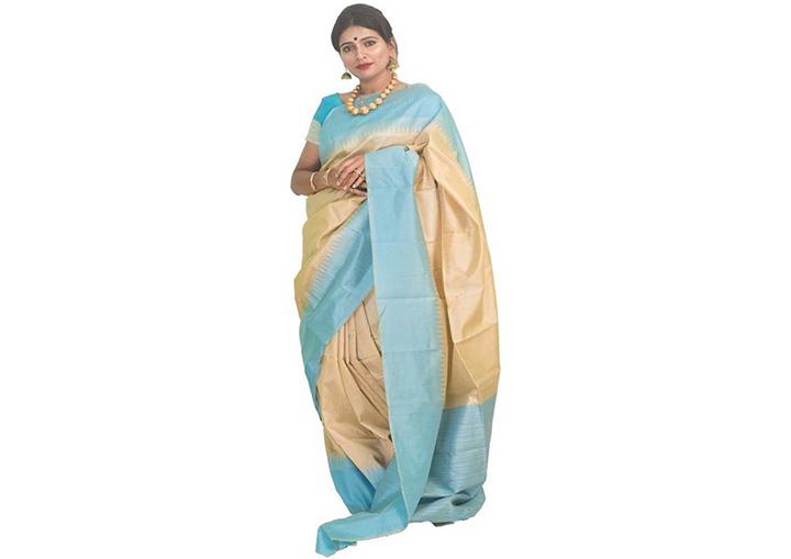 Solid Gadwal Cotton Silk Saree (Beige)
