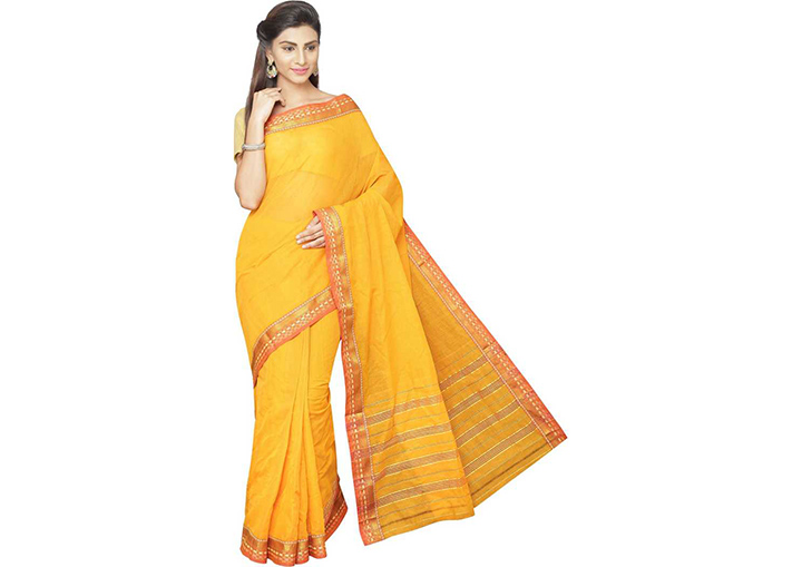 Solid Gadwal Pure Cotton Saree (Gold)