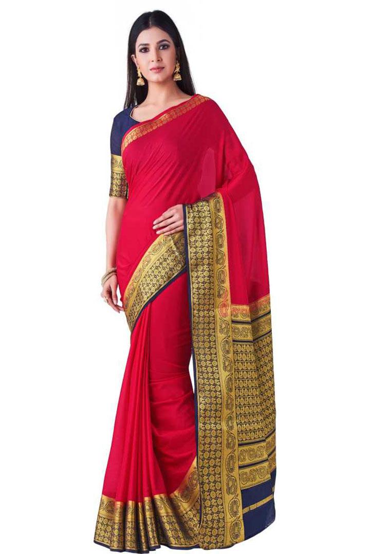 Solid Kanjivaram Crepe Saree (Red)