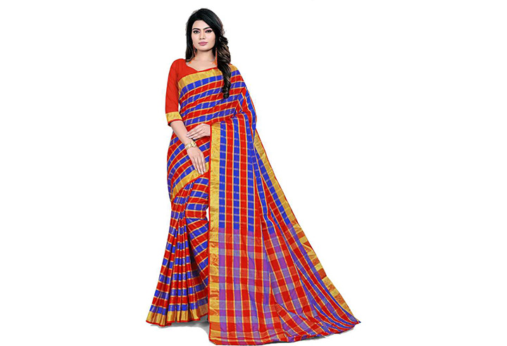 Striped Chettinadu Cotton Blend Saree (Blue, Pink)