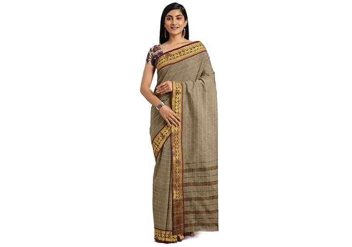 Striped Gadwal Pure Cotton Saree (Beige)