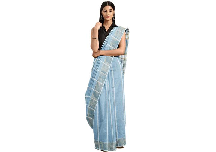 Striped Gadwal Pure Cotton Saree (Blue)