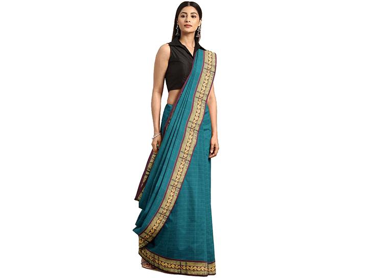 Striped Gadwal Pure Cotton Saree (Dark Blue)