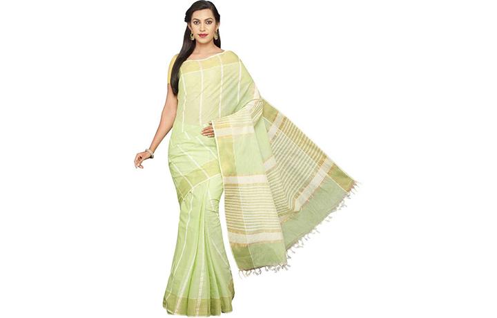 Striped Gadwal Pure Cotton Saree (Green)