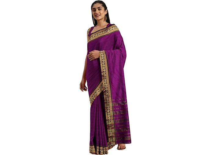 Striped Gadwal Pure Cotton Saree (Magenta)