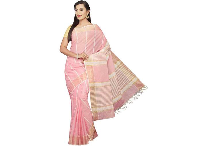 Striped Gadwal Pure Cotton Saree (Pink)