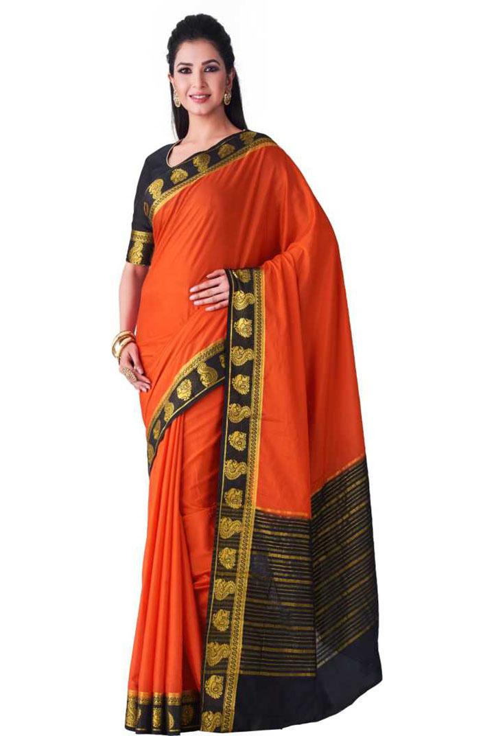Striped Kanjivaram Crepe Saree (Orange)