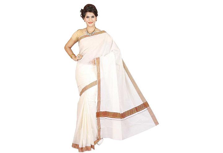 Striped, Solid Kasavu Cotton Blend Saree