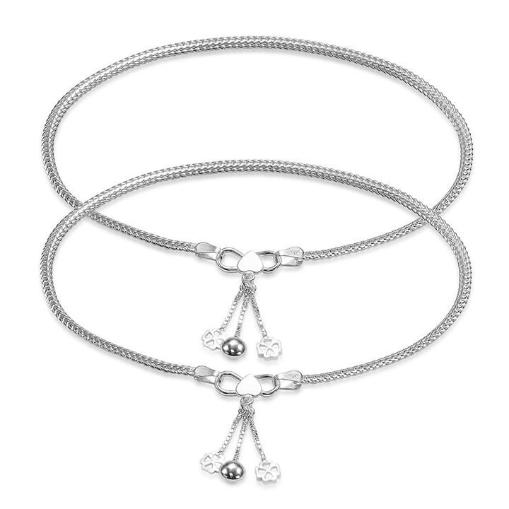 Taraash Foxtail Design Dangling Charm Sterling Silver Anklet for Women