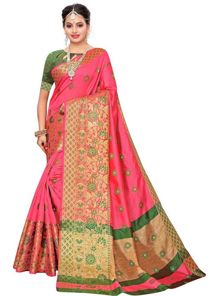 Temple Border, Woven, Embellished Kanjivaram Jacquard, Poly Chanderi Saree (Green, Pink)