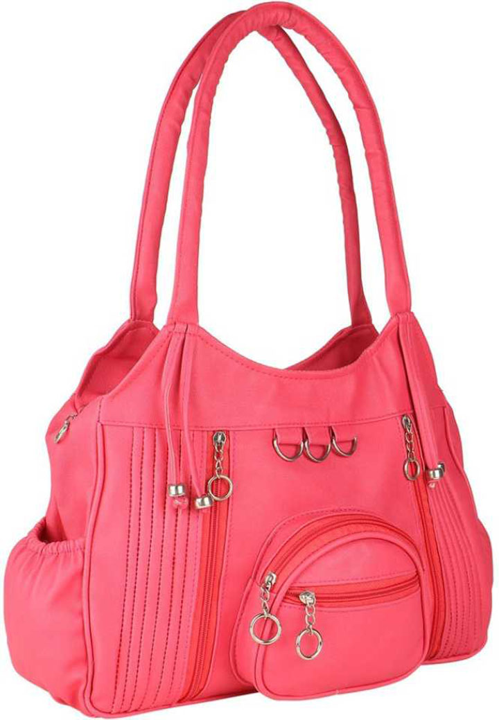 woman pink shoulder bag