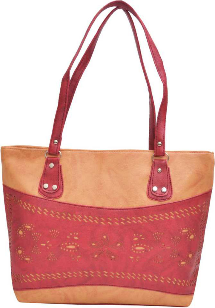 Women Tan, Red Shoulder Bag
