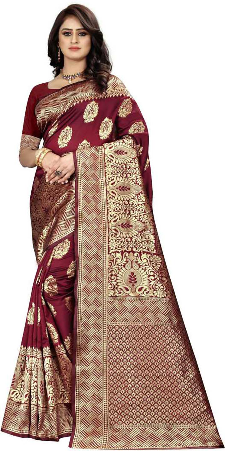 Woven Banarasi Art Silk Saree (Maroon)