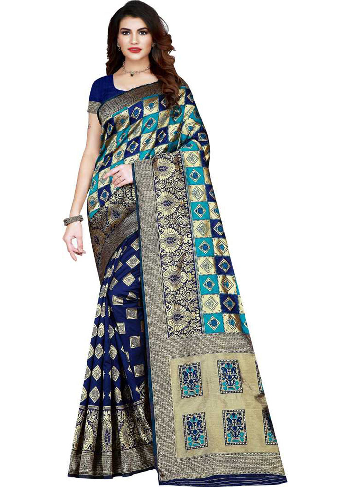 Woven, Checkered Kanjivaram Art Silk Saree (Blue)