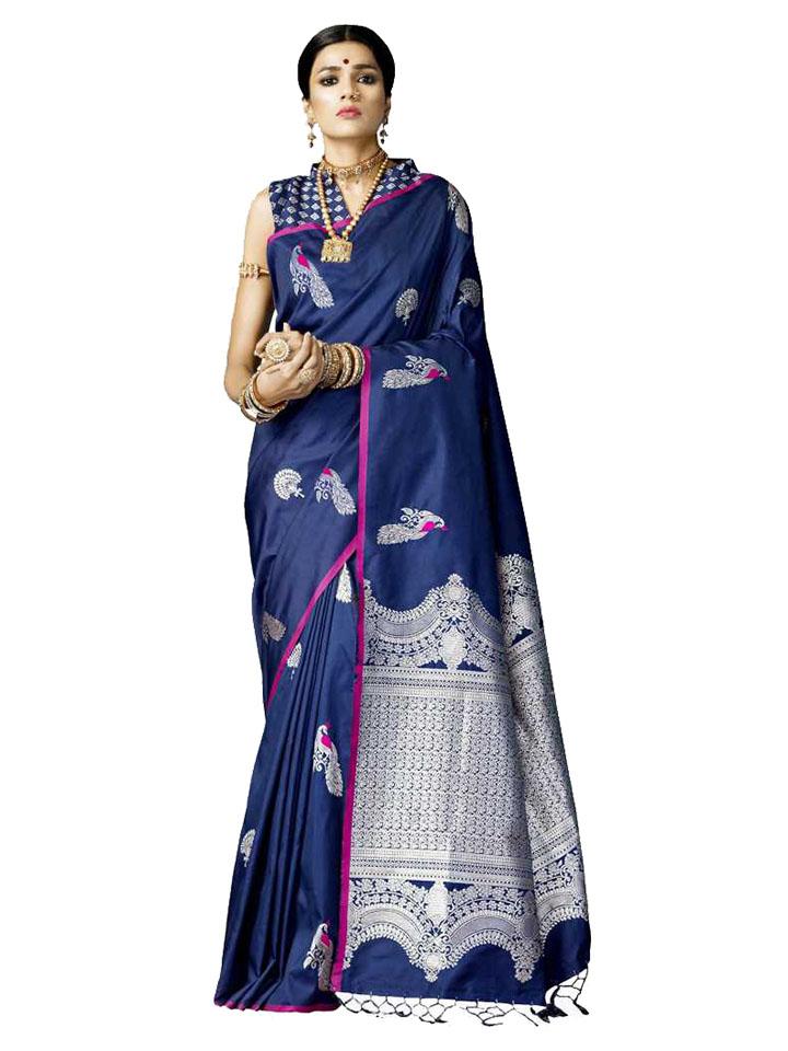 Woven, Embellished Kanjivaram Pure Silk Saree (Blue)