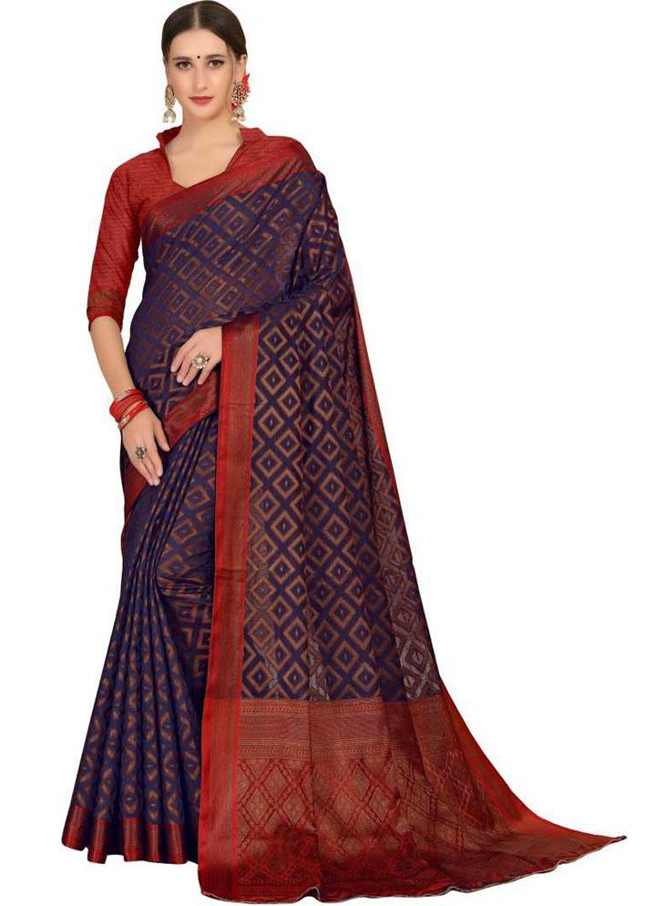 Woven, Embellished Kanjivaram Silk Blend, Cotton Silk Saree (Dark Blue)