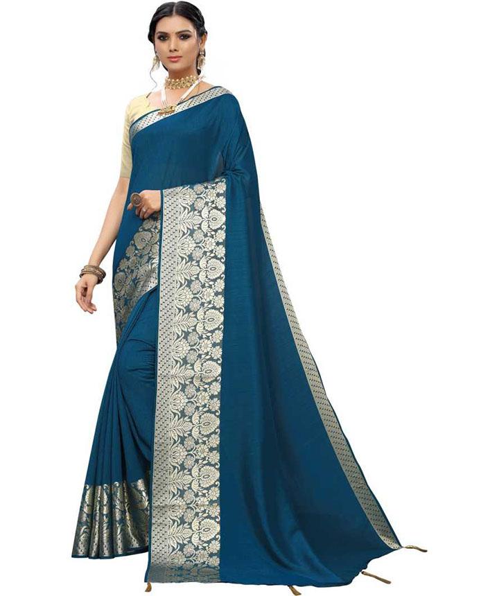 Woven, Embellished Kanjivaram Tussar Silk, Cotton Silk Saree (Blue)
