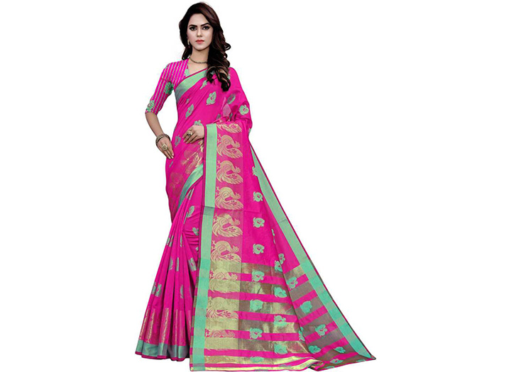 Woven Gadwal Art Silk Saree (Multicolor)
