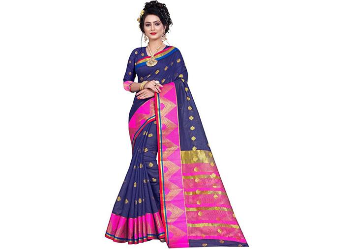 Woven Gadwal Pure Cotton Saree (Dark Blue)